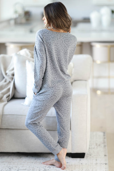 THREAD & SUPPLY Dreamer Loungewear - Charcoal Leopard closet candy women's trendy leopard print matching loungewear long sleeve top and joggers back