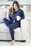 THREAD & SUPPLY Dreamer Loungewear - Navy Paint Splatter closet candy women's trendy paint splatter cozy loungewear long sleeve top and joggers sitting
