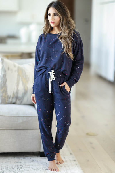 THREAD & SUPPLY Dreamer Loungewear - Navy Paint Splatter closet candy women's trendy paint splatter cozy loungewear long sleeve top and joggers front2