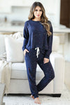 THREAD & SUPPLY Dreamer Loungewear - Navy Paint Splatter closet candy women's trendy paint splatter cozy loungewear long sleeve top and joggers front