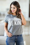Be Anything Be Kind Graphic Tee - Charcoal womens trendy round neck graphic tee closet candy front2