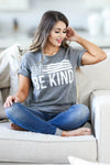Be Anything Be Kind Graphic Tee - Charcoal womens trendy round neck graphic tee closet candy sitting2