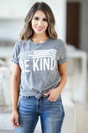 Be Anything Be Kind Graphic Tee - Charcoal womens trendy round neck graphic tee closet candy front