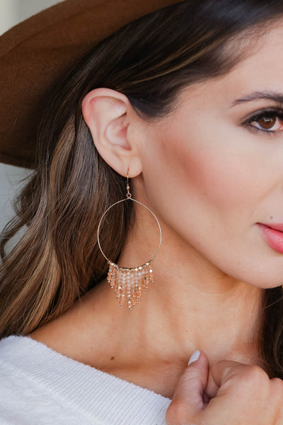 Imagination Hoop Earrings - Blush closet candy women's trendy hoop earring with beaded tassel detailing close