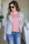 """Be The Light"" Graphic Tee - Dusty Rose closet candy women's trendy round neck short sleeve printed top front2"