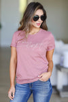 """Be The Light"" Graphic Tee - Dusty Rose closet candy women's trendy round neck short sleeve printed top front"