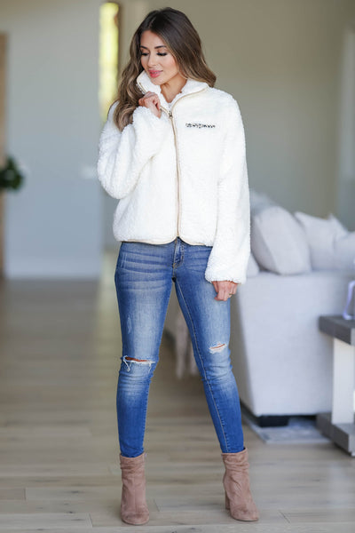 CBRAND Fierce Touch Sherpa Jacket - Cream closet candy women's trendy cozy zip front sherpa jacket front
