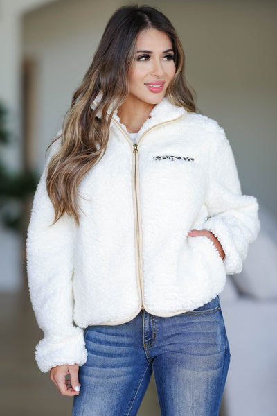 CBRAND Fierce Touch Sherpa Jacket - Cream closet candy women's trendy cozy zip front sherpa jacket front3