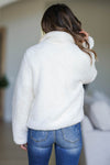 CBRAND Fierce Touch Sherpa Jacket - Cream closet candy women's trendy cozy zip front sherpa jacket back