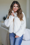 CBRAND Fierce Touch Sherpa Jacket - Cream closet candy women's trendy cozy zip front sherpa jacket front2