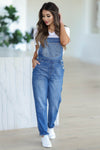 Aubrey Denim Overall Jeans - Medium Wash closet candy women's trendy medium wash boyfriend style denim overalls front