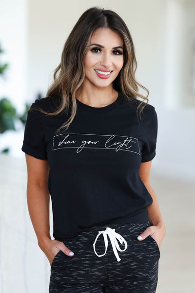 """Shine Your Light"" Graphic Tee - Black closet candy women's trendy round neck short sleeve printed top front"