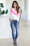 Snuggle Down Tie Dye Sweater - Pink closet candy womens crew neck raw hem thick sweater front 3