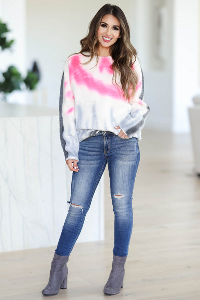 Snuggle Down Tie Dye Sweater - Pink closet candy womens crew neck raw hem thick sweater front