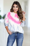 Snuggle Down Tie Dye Sweater - Pink closet candy womens crew neck raw hem thick sweater front 2