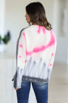 Snuggle Down Tie Dye Sweater - Pink closet candy womens crew neck raw hem thick sweater back