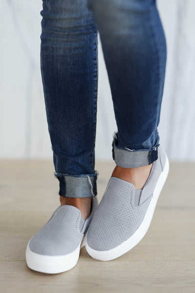 On My Way To You Slip On Sneakers - Grey closet candy women's perforated slip on sneakers 3