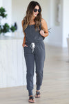 CBRAND At Peace Jumpsuit - Charcoal closet candy women's trendy sleeveless jogger jumpsuit front2
