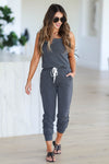 CBRAND At Peace Jumpsuit - Charcoal closet candy women's trendy sleeveless jogger jumpsuit front
