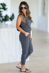 CBRAND At Peace Jumpsuit - Charcoal closet candy women's trendy sleeveless jogger jumpsuit side