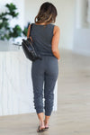 CBRAND At Peace Jumpsuit - Charcoal closet candy women's trendy sleeveless jogger jumpsuit back