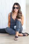 CBRAND At Peace Jumpsuit - Charcoal closet candy women's trendy sleeveless jogger jumpsuit sitting
