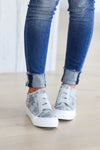 Walk That Way Wedge Sneaker - Grey Camo closet candy women's trendy wedge sneakers front