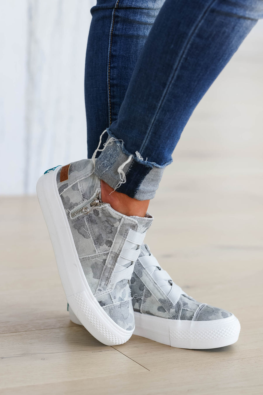 Walk That Way Wedge Sneaker - Grey Camo closet candy women's trendy wedge sneakers sitting