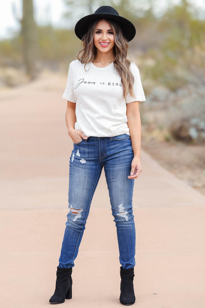 """Jesus Is King"" Graphic Tee - Ivory closet candy women's round neck graphic top front"