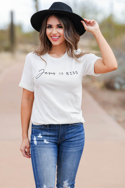 """Jesus Is King"" Graphic Tee - Ivory closet candy women's round neck graphic top front 3"