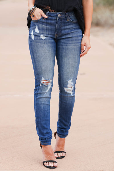KAN CAN The Way You Move Skinny Jeans - Dark Wash closet candy women's trendy ripped jeans 4