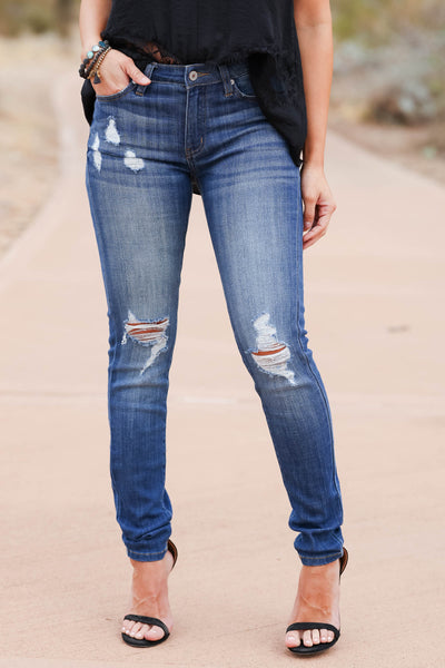 KAN CAN The Way You Move Skinny Jeans - Dark Wash closet candy women's trendy ripped jeans 1