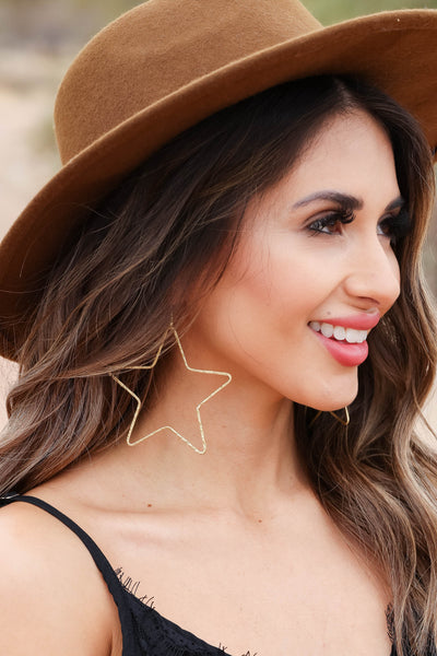Star Of The Show Earrings - Vintage Gold closet candy women's trendy large open star dangle earrings 2