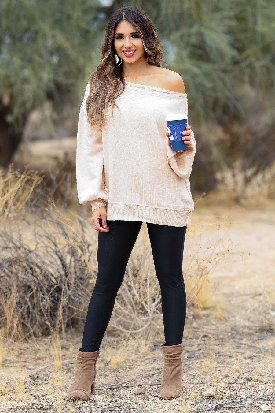 Addicted to Love Wide Neck Sweater - Beige closet candy women's trendy off the shoulder sweater front