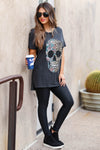 Edgy Chic Distressed Graphic Tee - Black closet candy women's trendy floral leopard skull distressed graphic tee side