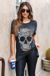 Edgy Chic Distressed Graphic Tee - Black closet candy women's trendy floral leopard skull distressed graphic tee front 2