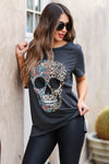 Edgy Chic Distressed Graphic Tee - Black closet candy women's trendy floral leopard skull distressed graphic tee front
