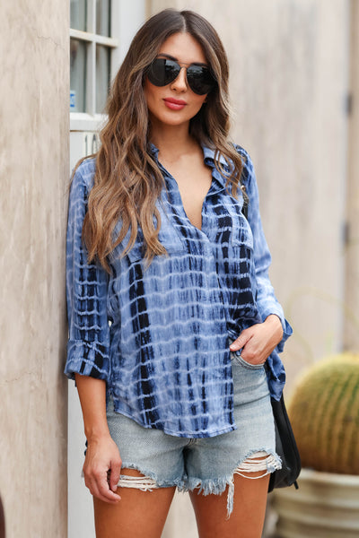 MYSTREE Laid Back Tie Dye Button Up Top - Blue closet candy women's trendy tie dye long sleeve button up top front 3