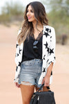 Boys Club Star Print Blazer - Ivory closet candy women's trendy office chic generous fit open front blazer front