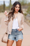 MYSTREE Finer Things Bomber Jacket - Blush closet candy women's trendy jacquard leopard print zip up jacket front