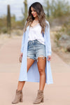 CBRAND You Make Me Better Cardigan - Sky Blue closet candy women's trendy long cardigan front