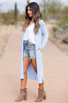 CBRAND You Make Me Better Cardigan - Sky Blue closet candy women's trendy long cardigan side