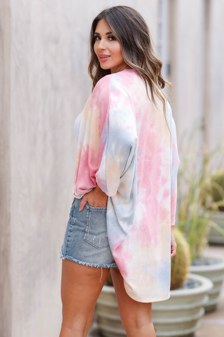 CBRAND Brighter Days Ahead Tie Dye Kimono - Coral closet candy women's trendy colorful dolman sleeve open front kimono front