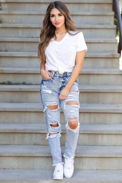 KAN CAN Layla Distressed Boyfriend Jeans - Light Acid Wash closet candy women's trendy ripped mom jeans front 4