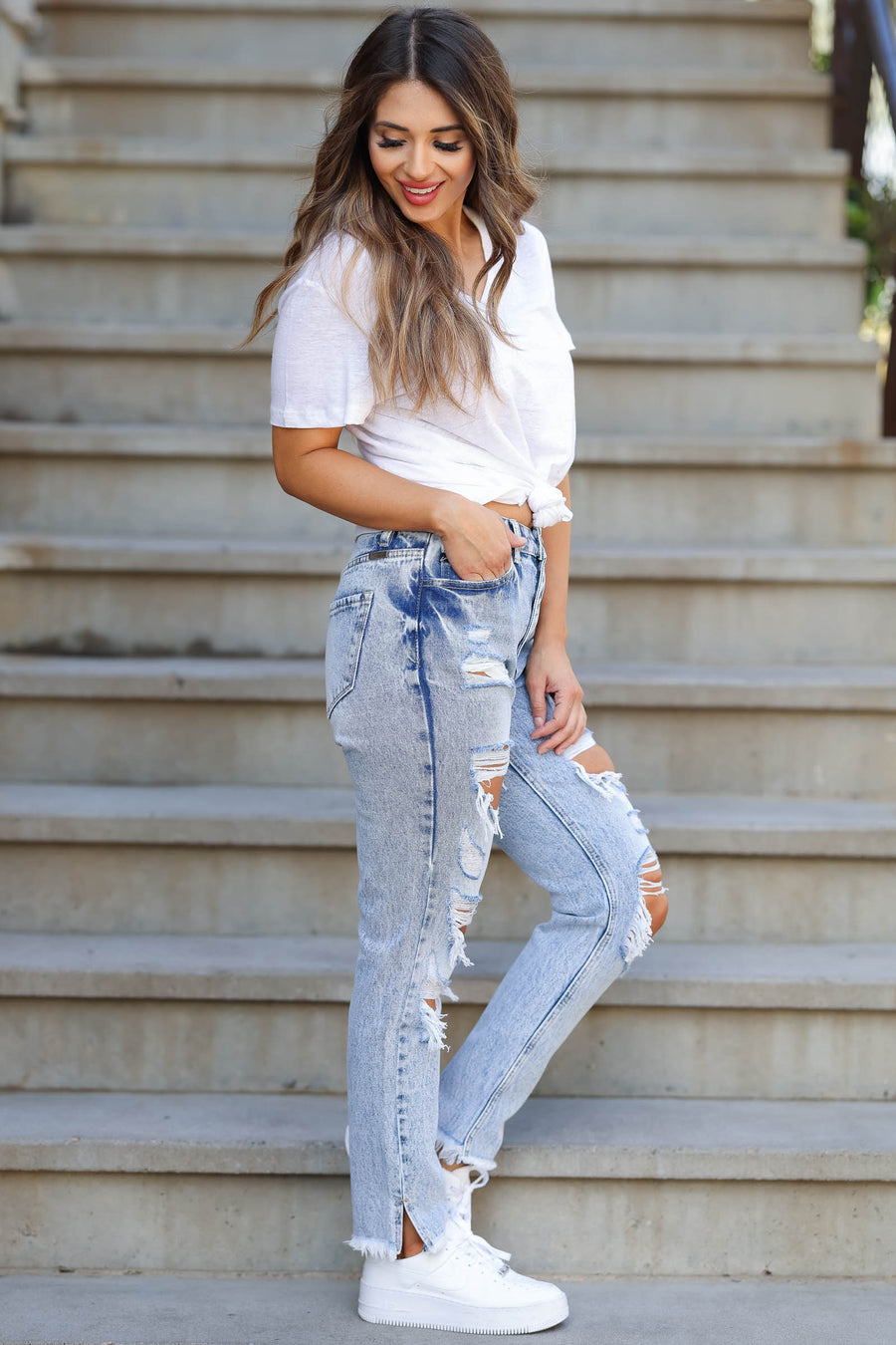 KAN CAN Layla Distressed Boyfriend Jeans - Light Acid Wash closet candy women's trendy ripped mom jeans sitting