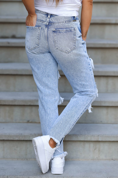 KAN CAN Layla Distressed Boyfriend Jeans - Light Acid Wash closet candy women's trendy ripped mom jeans back