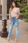SPECIAL A Haley Distressed Mom Jeans - Medium Wash closet candy women's trendy ripped jeans 2