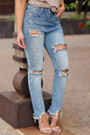 SPECIAL A Haley Distressed Mom Jeans - Medium Wash closet candy women's trendy ripped jeans 1
