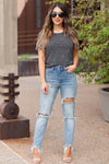 SPECIAL A Haley Distressed Mom Jeans - Medium Wash closet candy women's trendy ripped jeans 6