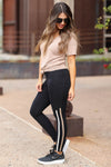 Meet You At The Finish Line Leggings - Black closet candy women's trendy striped athletic leggings side